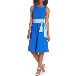 J. Crew 2 blue two tone tie-waist sheath dress